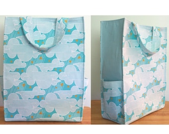 Blue Market Tote with Yellow Birds Clouds, Tote Bag with Pockets, Shopping Bag, Reusable Grocery Bag, Carry All Bag, Joel Dewberry Atrium