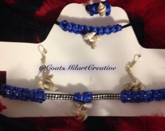 Set of necklace, bracelet, ring and earrings in color red, black, pink or blue-made by hand