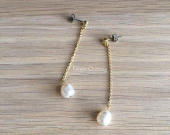 BLAIR earrings/Swarovski Crystal pearl drop earrings/cubic zirconia/titanium stud/swing earrings