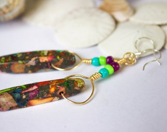 Bohemian Spirit Glass and Stone Bead Earrings