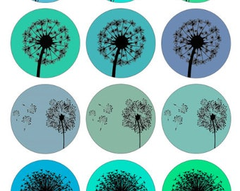 Dandelions in Green Blue  /Printable 1-Inch Circles / Bottlecap Images / Teal Mint Aqua Periwinkle / Dandelion Silhouettes Digital Collage