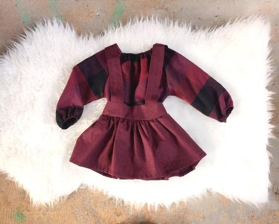 Fiona Plum Linen High Waist Girls Suspender Skirt