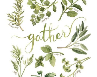 "8x10"" Watercolour Herbs Kitchen Art - ""Gather"" (Archival Print) - Gift for Mom by Alicia's Infinity"