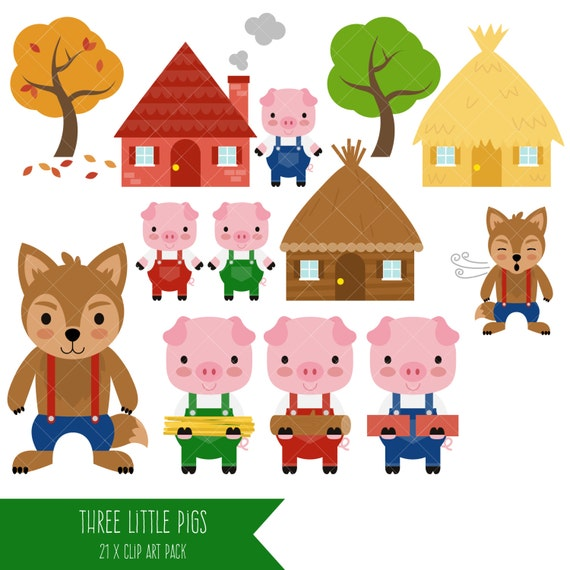 three little pigs clipart big bad wolf clip art rh etsy com three little pigs clipart 3 little pigs clipart free