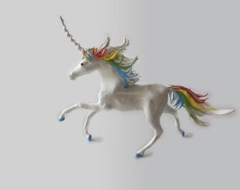 Figurine of white horse with rainbow mane (white, rainbow)