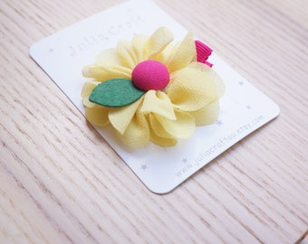 Yellow Flower Hair Clip, Handmade hair clip, Baby/Infant/Toddler/Child/Girl hair clip, Birthday, Princess Party Gift -JuliaCraft Australia