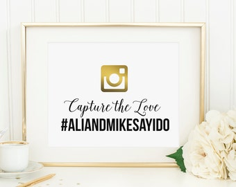 Gold Hashtag Sign - Printable - Digital Download - 5x7 other sizes available