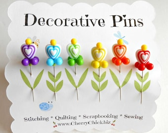 Decorative Sewing Pins - Heart Pins - Gift for Quilters - Sewing Pins - Fancy Pins - Scrapbooking Pins - Quilting Pins -  Pincushion Pins