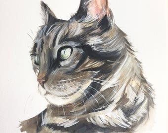 CUSTOM CAT PAINTING, cat illustration, Custom pet portrait, watercolor, cat portraits, custom pet painting, cat, pet portrait, Ninja Heevel