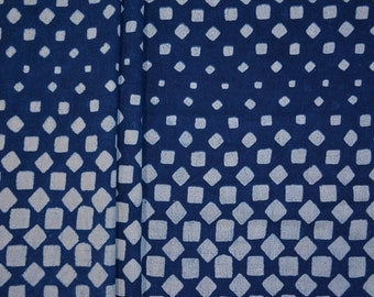Natural Dye Indigo Block Print Indian Cotton Fabric