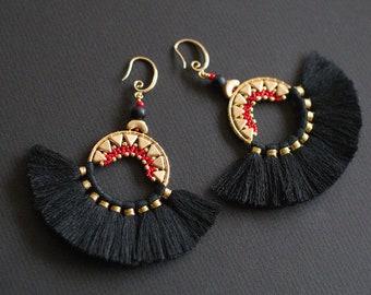 Exotic Earrings, Mexicana Tassel Earrings, Black Tassel Earrings, Ethnic Earrings, Tassel Fringed Ring Earrings, Black Brazilian Earrings