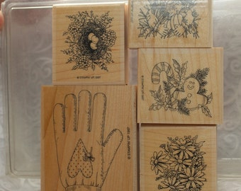 Stampin Up Set Rubber Stamp Gifted Glove Stamp 1997, Gingerbread Man Stamp, Scarecrow Rubber Stamp, Daisies, Country Style Stamps, Heart