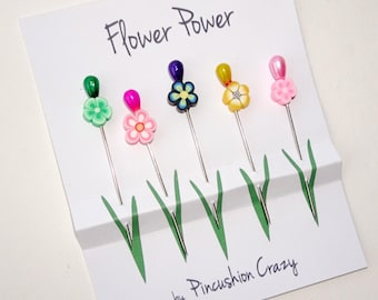 Embellishment Pins - Flower Sewing Pins - Flower Power - Polymar Clay Flower Pins - Sewing Supplies - Gift for Sewers Quilters