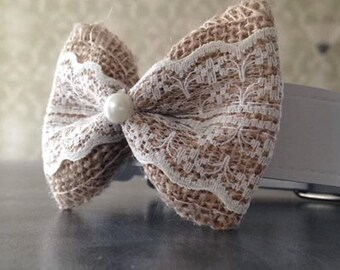 Lace Hessian Bow Dog Wedding Collar