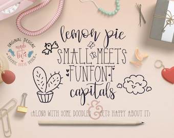 Font Duo, Lemon Pie Small and FunFont Capitals, Extra Doodles, hand lettered fonts, hand made fonts, script font, modern fonts, cute fonts