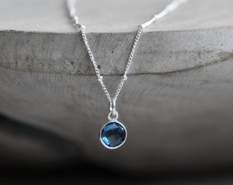 London Blue Topaz Necklace, Tiny Topaz Necklace, London Blue Topaz Jewelry, Birthstone Jewelry, 21st Birthday Gift for Her, Topaz Pendant