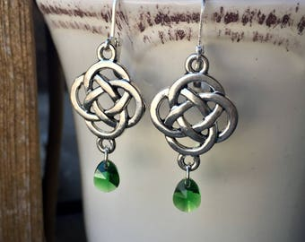 Tibetan Silver Celtic Earrings With Emerald Crystal Teardrops ST PATRICK'S DAY Jewelry
