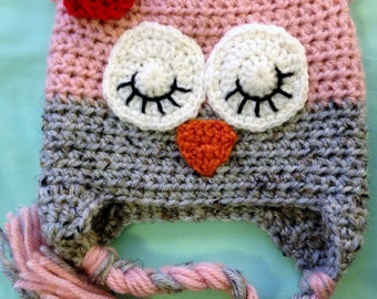Owl Hat- Pink & Grey Marble with Red Flower