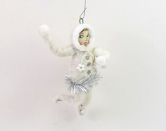 Spun Cotton Vintage Style Snowball Thrower Ornament (MADE TO ORDER)