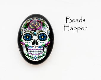 25x18mm Oval White Day of the Dead Skull Cabochon, Skull, Skulls, Dia de Muertos, 25x18 Ovals, Skeleton, Skeletons, Rose, Roses, Qty 1