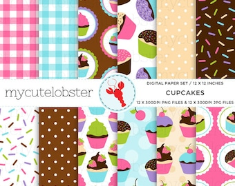 Cupcakes Digital Paper Set - patterned paper, cake, sprinkles, gingham, polka - personal use, small commercial use, instant download