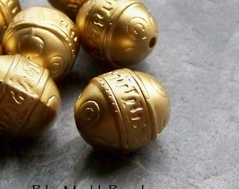 Matte Bead, Etched Beads, Carved Bead, Ornate Bead, Boho Beads, Tribal Beads, Oval Beads, Lucite Beads, Gold Beads, Matte Gold, 10 Beads