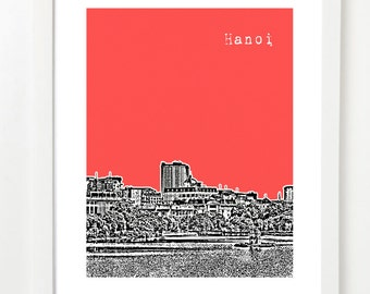 Hanoi Art Print - Hanoi Vietnam City Skyline Art Print - Hoan Kiem Lake Poster -