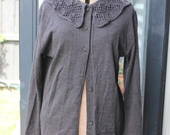 Cerruti 1881 Grey cardigan with lace wool collar