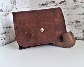 tobacco pouch wallet in brown felt