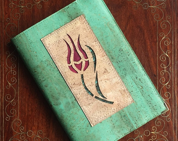 Green cork leather A5 notebook embellished with a fawn appliqué of a stylised tulip backed in red cork and green cork and fennel leathers
