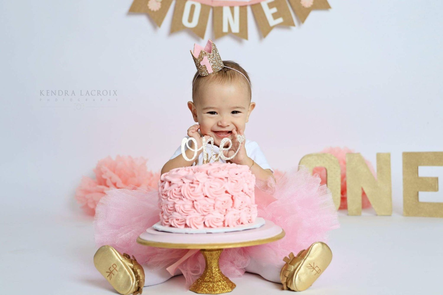 Pink And Gold First Birthday Smash Cake Stand Mini Cake Stand