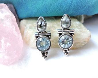 Blue Stones Sterling Silver Earrings Pierced