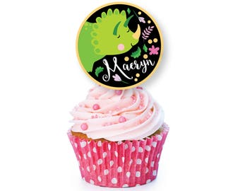 Dinosaur cupcake toppers or bunting - Pink Dinosaur Birthday, Dinosaur Birthday Party, Dino Cupcake Toppers, Printable digital files