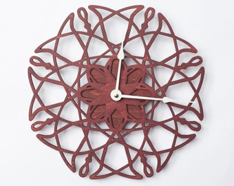 Large Wall Clock Electrons Flower, Walnut Wood Clock, Large Clock, Modern Clock, Wooden Wall Clock, Kitchen Clock, Valentines day gift