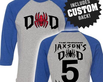 Spiderman Inspired SPIDERDAD Birthday Shirt Raglan with Custom Name Spider-Man Shirt Spiderman Birthday Spider-Man Birthday Shirt