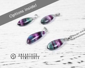 Fluorite Necklace - Healing Crystal Pendant, Rainbow Fluorite Crystal Necklace, Genuine Gemstone Necklace, Gem Pendant