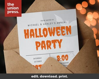 Halloween Party Invitation Printable Template, Costume Party Printable Invitation, Instant Download, DIY Halloween Invite