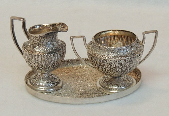 Vintage JWR Sterling Silver Miniature Childs  Size Cream & Sugar With Tray.. 107 Grams
