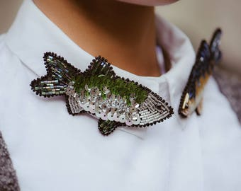 Beaded brooch Fish