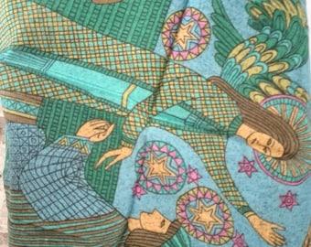 Collectible cotton handkerchiefs handkerchiefs 3 rare beautiful vintage 1970s.