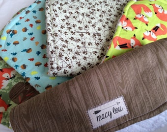 Handmade Boutique Burp Cloths - Set of 5 Fox/Forest/Woodland Creature Print