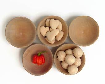 Wooden bowls 5 set * Blank small wood bowls * Rustic Spice bowls / Turned wooden bowls > Wood stacking bowls / Wedding table bowl- Australia