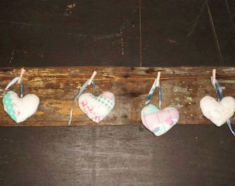 4 Antique Quilt HEARTS - Neat Old Handmade Country Chic Decor- Christmas Ornaments- Hearts Made from Old Quilt- Heart of the Home