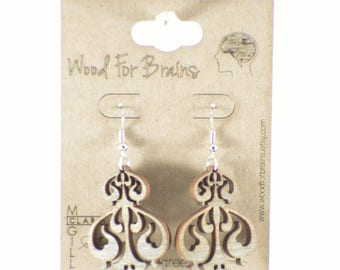 "Laser Cut Wooden Earrings - ""Filigree"""
