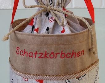 Knitting bag, handmade bag, handmade basket, knitting basket, storage, crochet bag, knitting needles, crochet hooks, Baskets, project bag