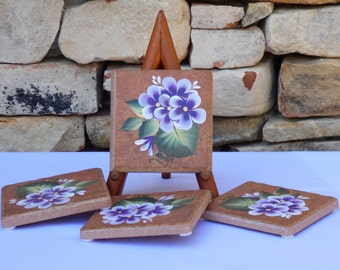 Hand Painted Tile Coasters with Purple Impatiences