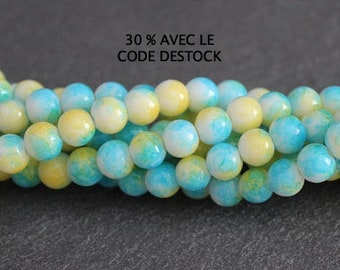 30 6 mm bicolor blue and yellow glass beads