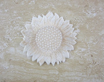 Ivory Sunflower Patch, Iron-on Patch, Embroidered Patch