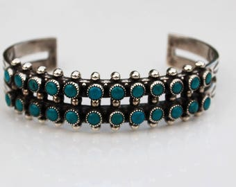 Native American Navajo Fred Harvey Old PawnBlue Turquoise Sterling Double Row Bracelet 1960's