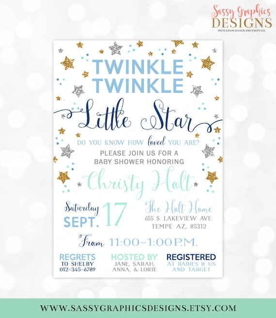 Twinkle Twinkle Little Star Baby Shower Invitation Baby Boy